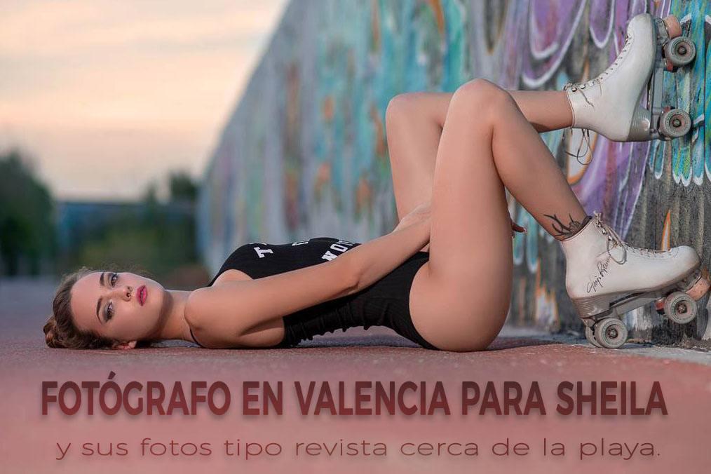 Fotógrafo en Valencia para Sheila y sus fotos tipo revista cerca de la playa.