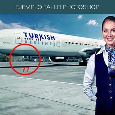 Un exceso de Photoshop mal hecho en una campaña de publicidad deja al avión sin ruedas.